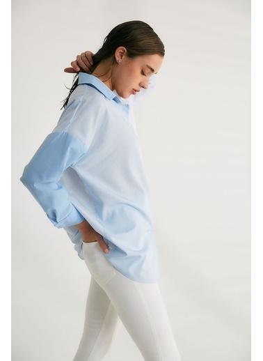 Robin Cep Detaylı Kontrast Gömlek Mavi Mavi